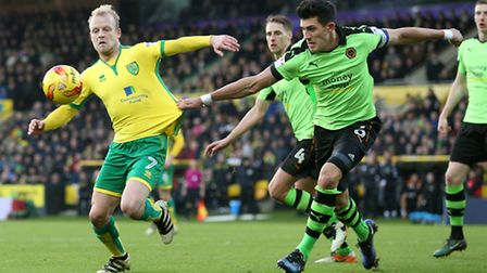 Steven Naismith led by example again for Norwich City, in their home win over Wolves. Picture by Pau