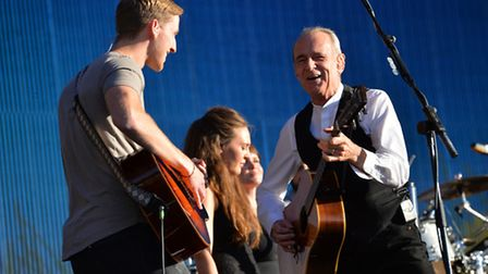 Lead singer of Status Quo Francis Rossi (right) performing at BBC Radio 2 Live in Hyde Park, London.