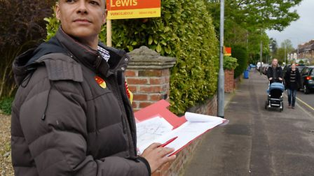 Labour Norwich South candidate Clive Lewis making sure that supporters in Unthank Road have cast the