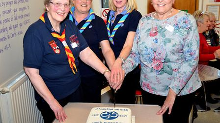 1st Oulton Guides celebrating their 100th anniversary. Sue Simpson, Gill Smith, Ally Durrant and Vio