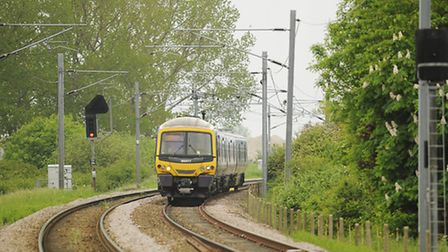 A train heading to King's Lynn along the Fen Line after passing the Ely North junction. Picture: Ian