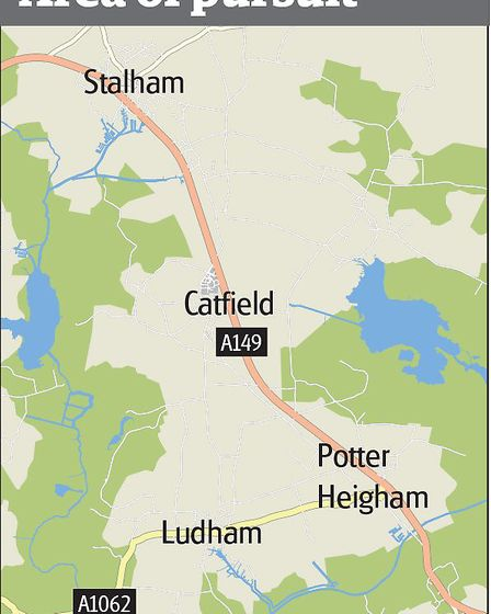 Gaphic showing police pursuit of BMW through Stalham, Catfield and Ludham areas