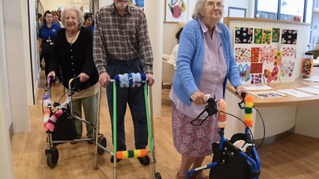 Residents at the Bowthorpe Care Village with their decorated zimmer frames for the Pimp My Zimmer ev