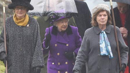 The Queen walking to Flitcham Church for morning service. Picture: Ian Burt