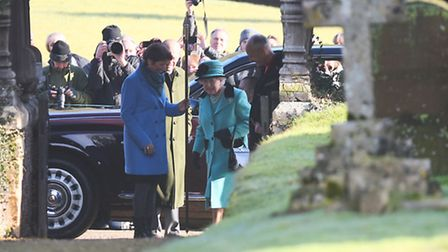 The Queen arrives for morning service at West Newton Church. Picture: Ian Burt