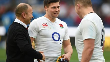 England head coach Eddie Jones, captain Dylan Hartley, right, and Ben Youngs after the 2016 RBS Six