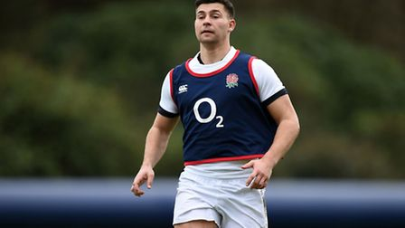 Ben Youngs during an England training session at Bagshot.
