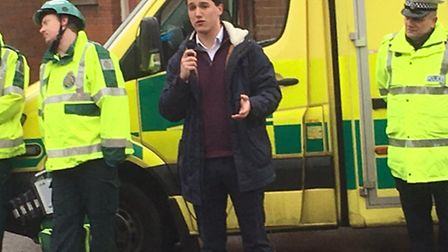 Thomas Semmons talks about road safety at the Sixth Form College, Dereham. Pictures: David Bale