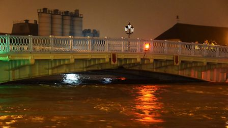 The River Yare at it's highest point under the Haven Bridge. Picture: DENISE BRADLEY