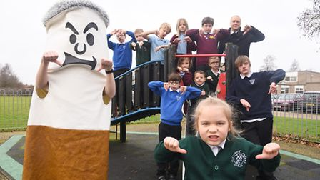 The schools in Toftwood have some new smoke free zone signs. Pictured is Toftwood Infant School pupi