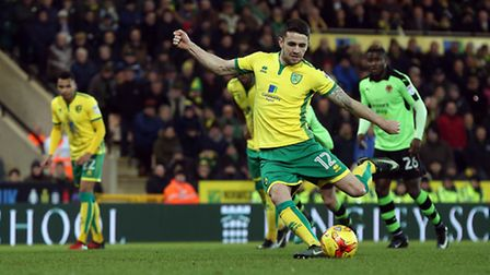 Robbie Brady of Norwich scores his sides 2nd goal from the penalty spot during the Sky Bet Champions