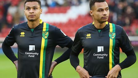 Twins Jacob, right, and Josh Murphy started a league match together for Norwich City for the first t