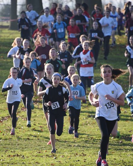 Action from the Year 7 Girls race in the Norfolk Schools Cross Country Championship at the Norfolk S