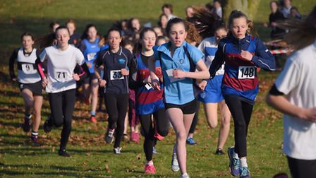Action from the Junior Girls race in the Norfolk Schools Cross Country Championship at the Norfolk S
