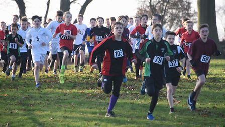 Action from the Year 7 Boys race in the Norfolk Schools Cross Country Championship at the Norfolk Sh