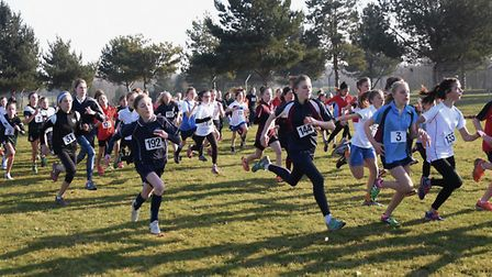 The start of the Year 7 Girls race in the Norfolk Schools Cross Country Championship at the Norfolk