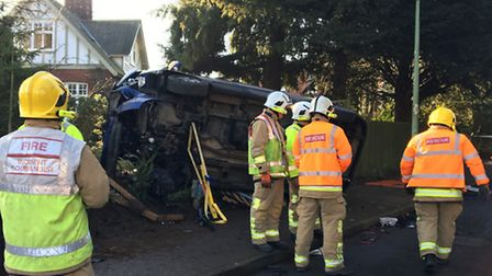 The crash occurred on the junction of Ashman's Road and Grange Road in Beccles. Picture submitted by