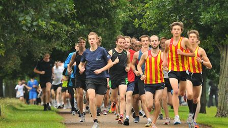 Runners taking part in a previous Norwich Parkrun anniversary event in Eaton Park. Picture : Steve A