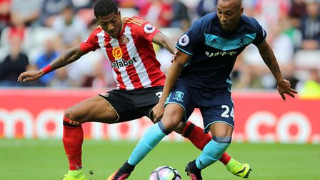 Emilio Nsue, right, in action against Sunderland for Middlesbrough in the Premier League earlier thi