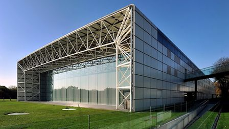 East end of Sir Norman Foster's iconic Sainsbury Centre for Visual Arts, opened in 1978.; Photo: Bil