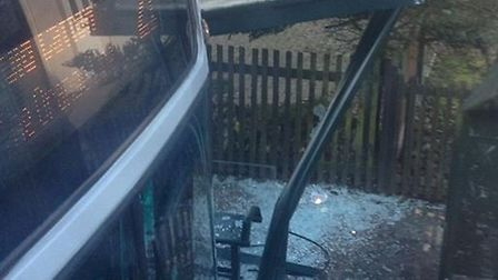 The first bus which crashed into the shelter on Bowthorpe Road in Norwich. Picture Daren Marjoram.