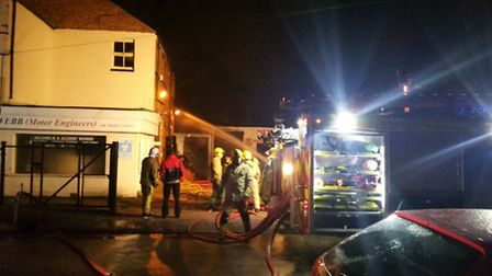 The fire at the car workshop on Starling Road. Picture: Kevin Murphy