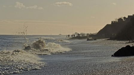 The scene of Saturday's incident seen from the beach at Thorpeness. Photo Rob Potter.