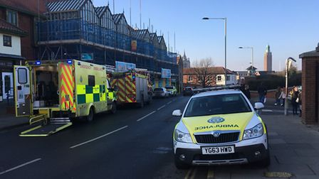 Emergency vehicles outside the Castle Mall in Norwich after a medical emergency. Picture: SOPHIE WYL