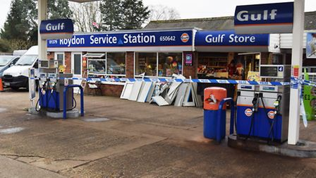 Roydon Service Station after the ram raid, which took place in the early hours of Wednesday, Februar
