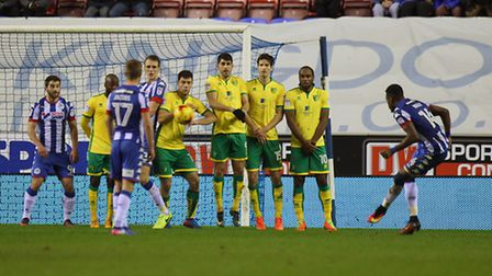 Omar Bogle of Wigan Athletic scores his sides 2nd goal from a free kick during the Sky Bet Champions