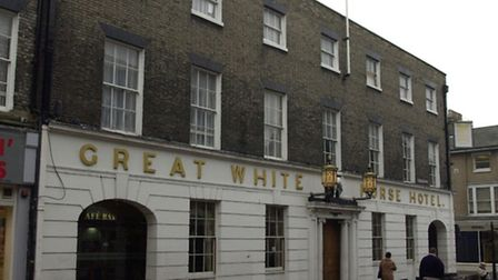 The Great White Horse Hotel, Ipswich, scene of Mr Pickwick's great embarrassment.