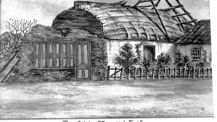 """A picture of """"Peggoty's Hut"""" at Great Yarmouth, described in David Copperfield."""