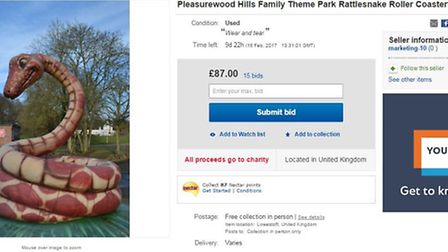 Pleasurewood Hills snake prop is up for auction on ebay. Picture: ebay