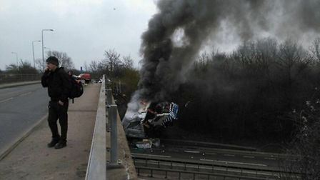 The view from the bridge on top of the A12 where the lorry veered off and crashed.