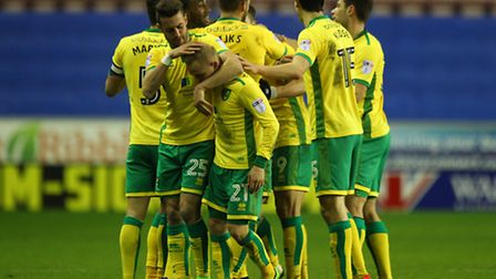 Norwich City players celebrate Nelson Oliveira's opener. Picture: Paul Chesterton/Focus Images