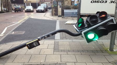 Traffic light knocked down on Bank Plain, Norwich Picture: Mark Summers