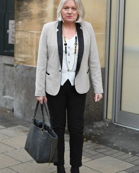 BBC Look East journalist Sally Chidzoy at an employment tribunal hearing in Cambridge on Tuesday Feb