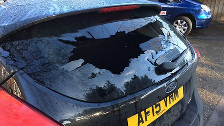 """Two """"innocent families"""" woke up to find their car back windows were smashed in with bricks. Pictures"""