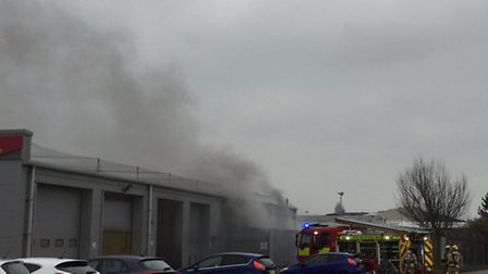 Workshop blaze being tackled in Lowestoft. Picture: SIMON WARD