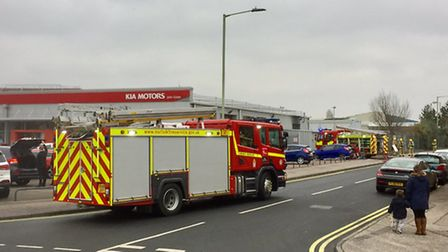 Crews from Norfolk and Suffolk were called to the minibus blaze in a workshop unit in Lowestoft. Pic