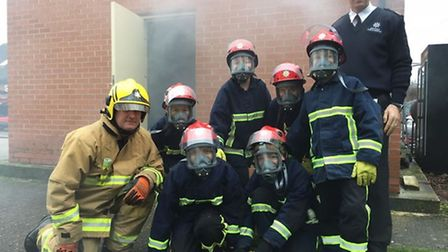 Students from Mildenhall College Academy take part in the Firebreak course. They are pictured with f