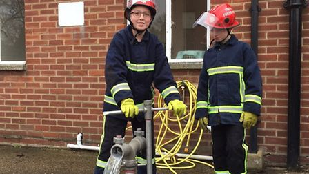 Students from Mildenhall College Academy take part in the Firebreak course at Mildenhall fire stati