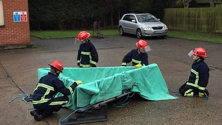 Students from Mildenhall College Academy take part in the Firebreak course. Picture: Suffolk Fire a