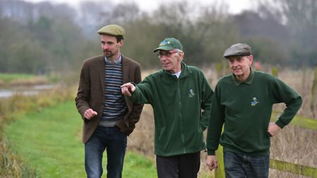 The River Waveney Study Centre, Earsham. Ben Potterton (trustee Otter Trust) with Robin Twigge and G