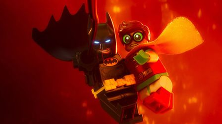 The dynamic duo, crime fighting in multi-coloured bricks in The Lego Batman Movie Picture: Warner Br