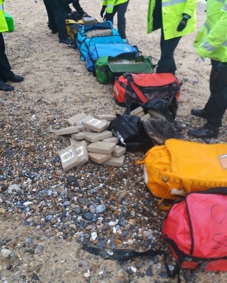 The bags of cocaine seized from the beach (Picture: NCA)