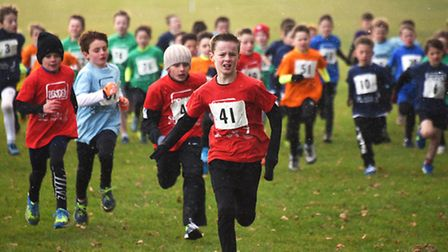 Cross country races at Gresham's School for the Norfolk Winter School Games 2017. Year 4 boys race a