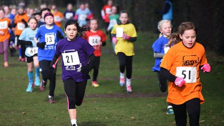 Cross country races at Gresham's School for the Norfolk Winter School Games 2017. Year 4 girls race