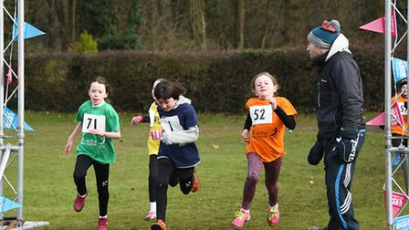 Cross country races at Gresham's School for the Norfolk Winter School Games 2017. The finish line of