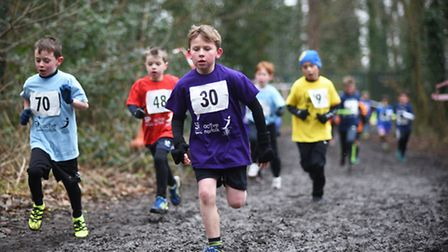 Cross country races at Gresham's School for the Norfolk Winter School Games 2017. Year 3 boys race a